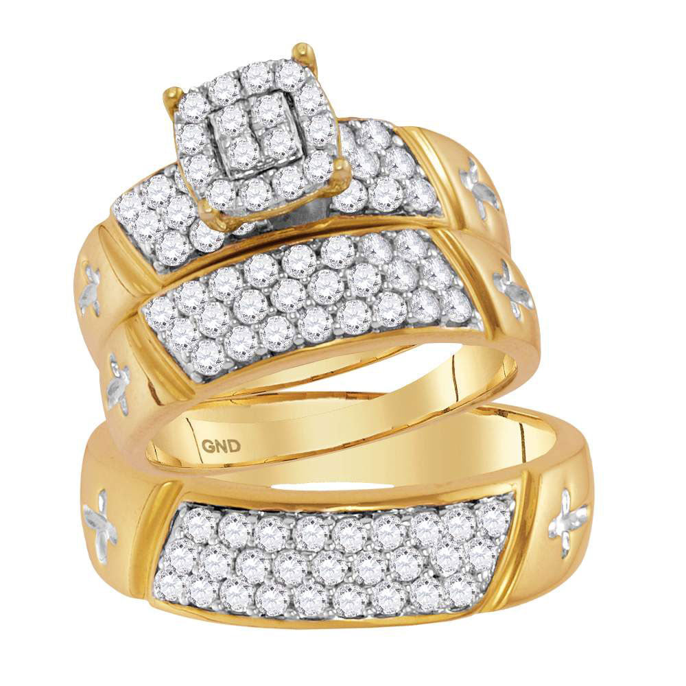 14kt Yellow Gold His & Hers Round Diamond Cluster Crosses Matching Bridal Wedding Ring Band Set 1.63ct