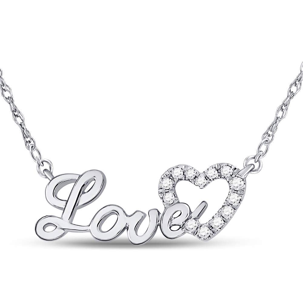 10kt White Gold Womens Round Diamond Love Heart Pendant Necklace .17ct