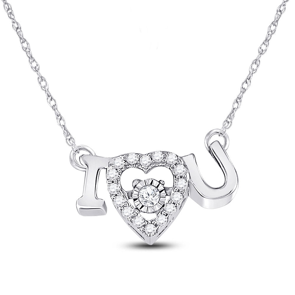 14kt White Gold Womens Round Diamond I Love U Heart Pendant Necklace .10ct