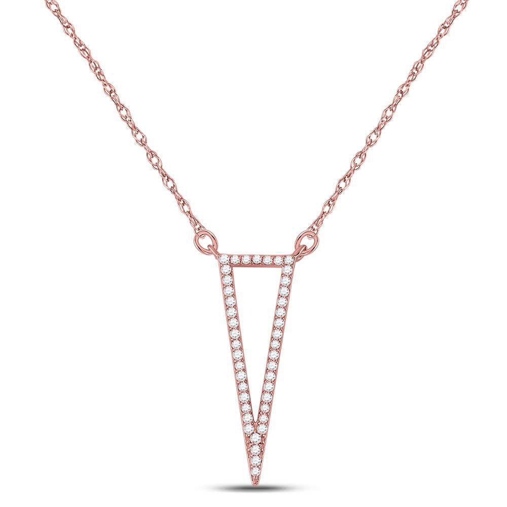 14kt Rose Gold Womens Round Diamond Triangle Fashion Pendant Necklace .25ct