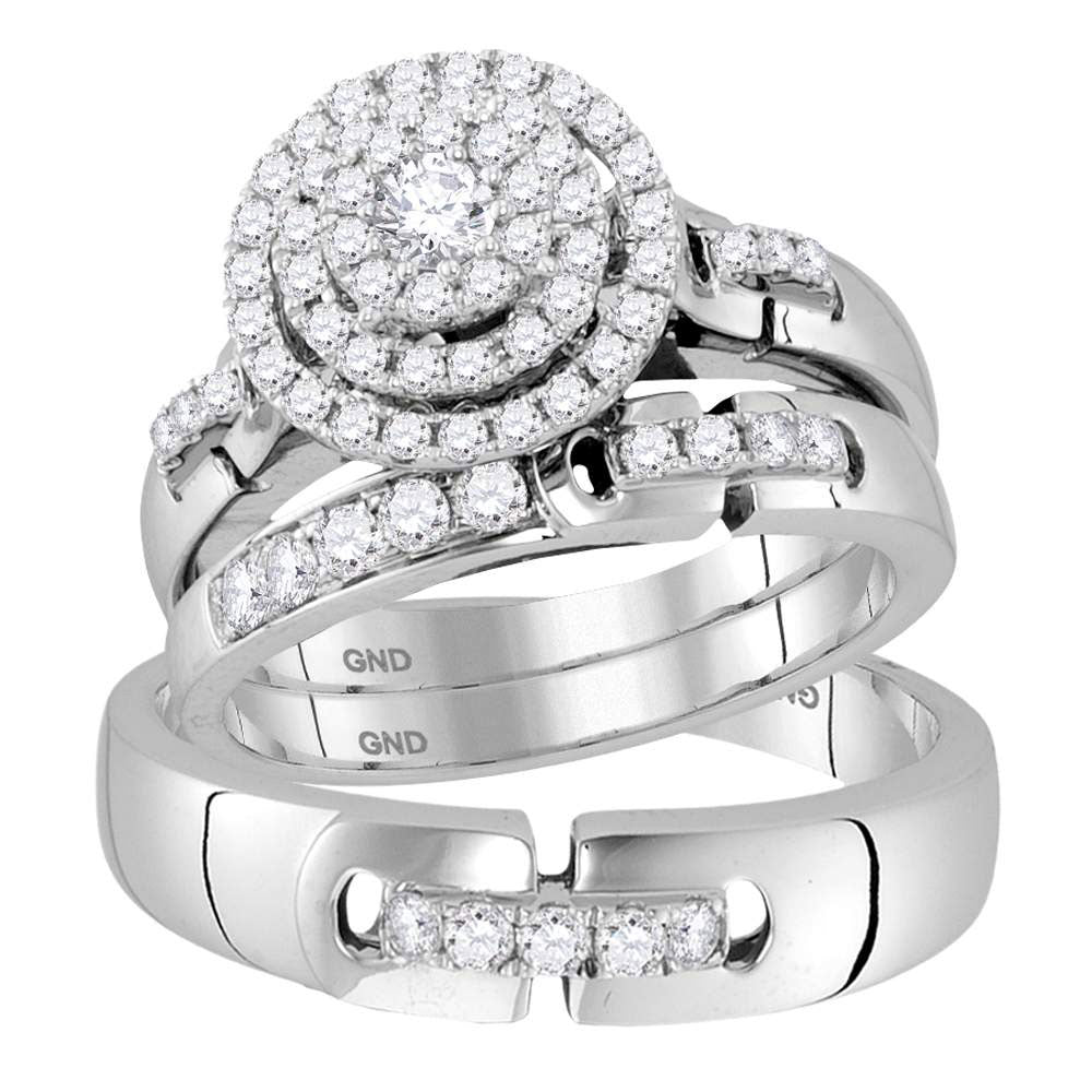 14kt White Gold His Hers Round Diamond Solitaire Matching Bridal Wedding Ring Band Set 1.00ct