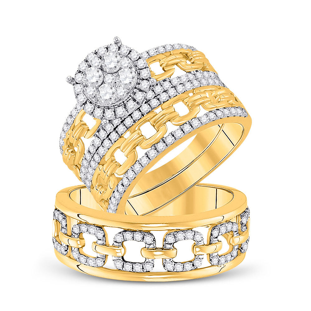 14kt Yellow Gold His Hers Round Diamond Cluster Matching Bridal Wedding Ring Band Set 1.38ct