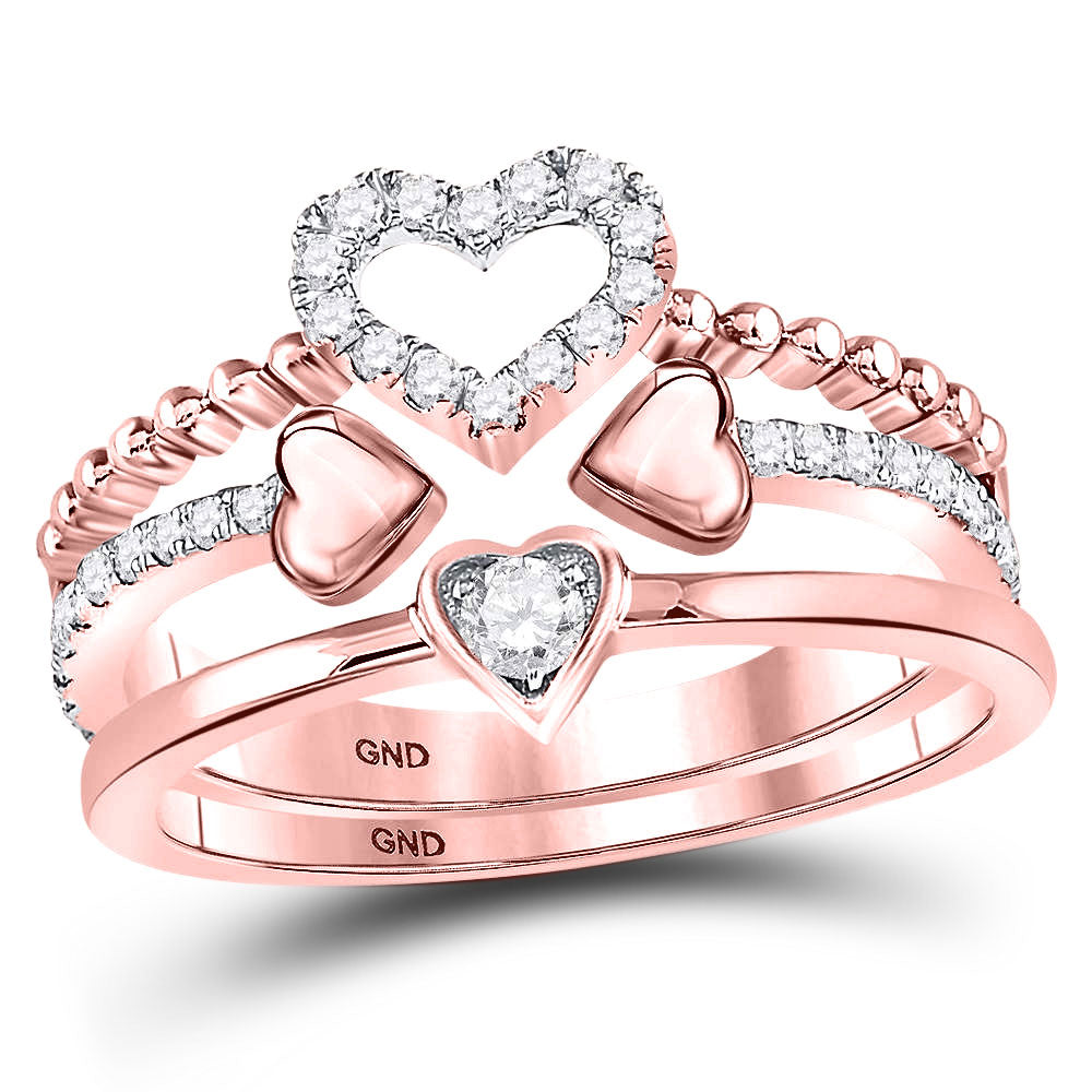 14kt Rose Gold Womens Round Diamond 2Piece Beaded Heart Band Ring Set .35ct