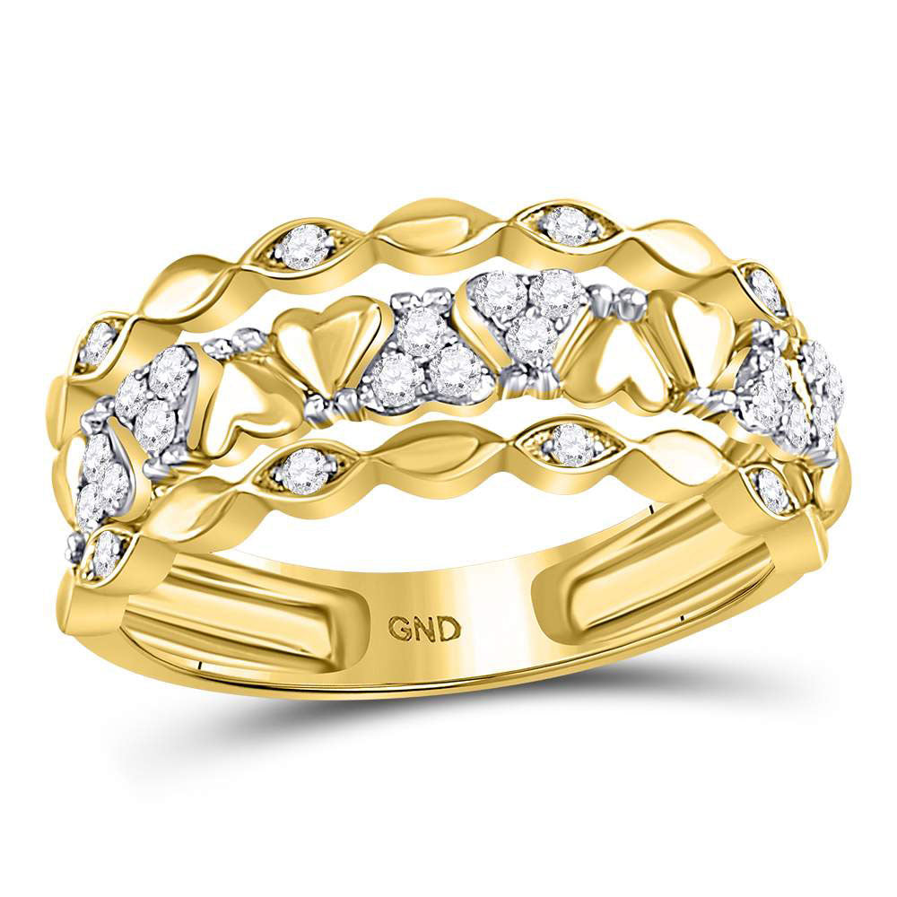 14kt Yellow Gold Womens Round Diamond Open Strand Heart Band Ring .35ct
