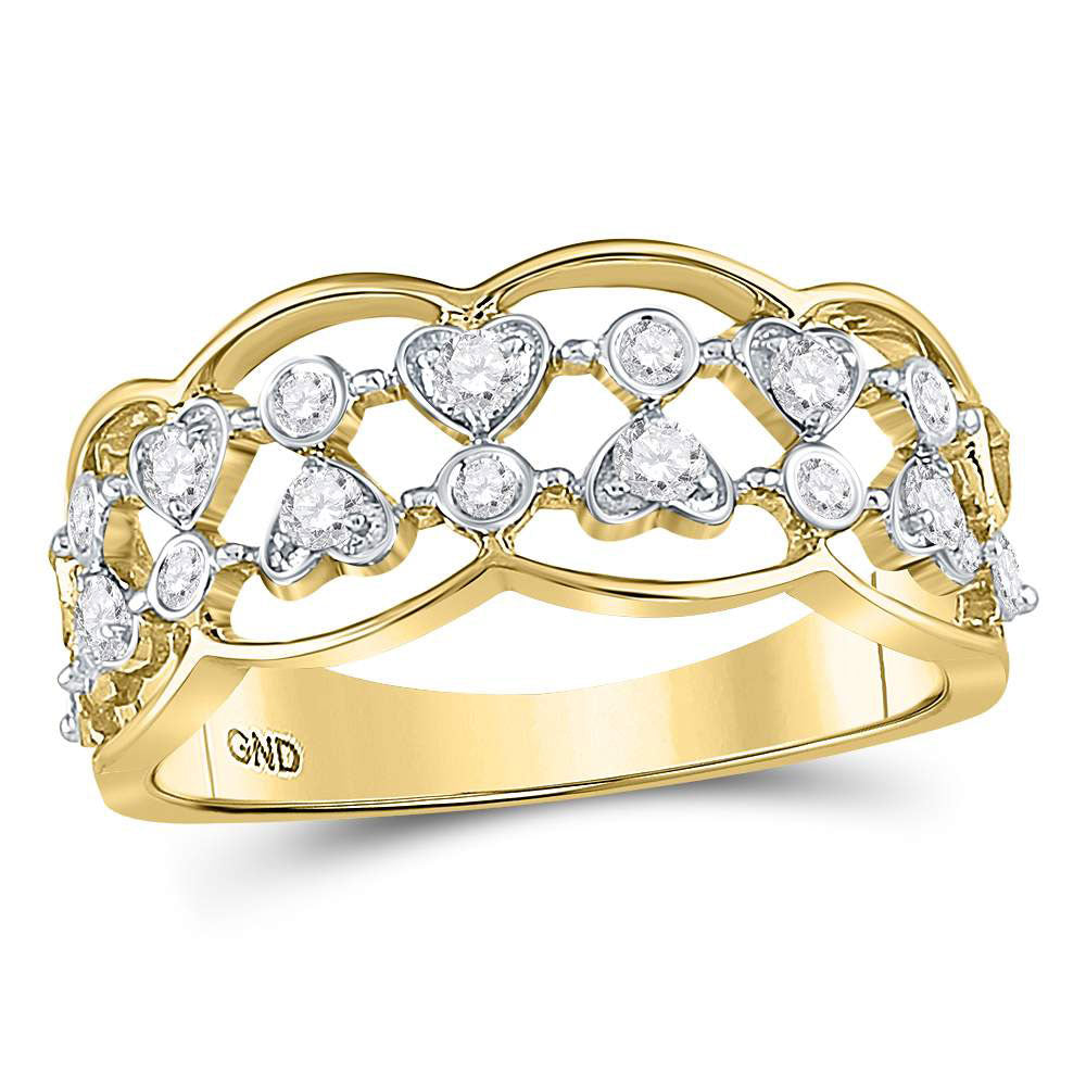 14kt Yellow Gold Womens Round Diamond Double Row Heart Dot Band Ring .35ct