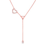 14kt Rose Gold Womens Round Diamond Heart Drop Pendant Necklace .17ct