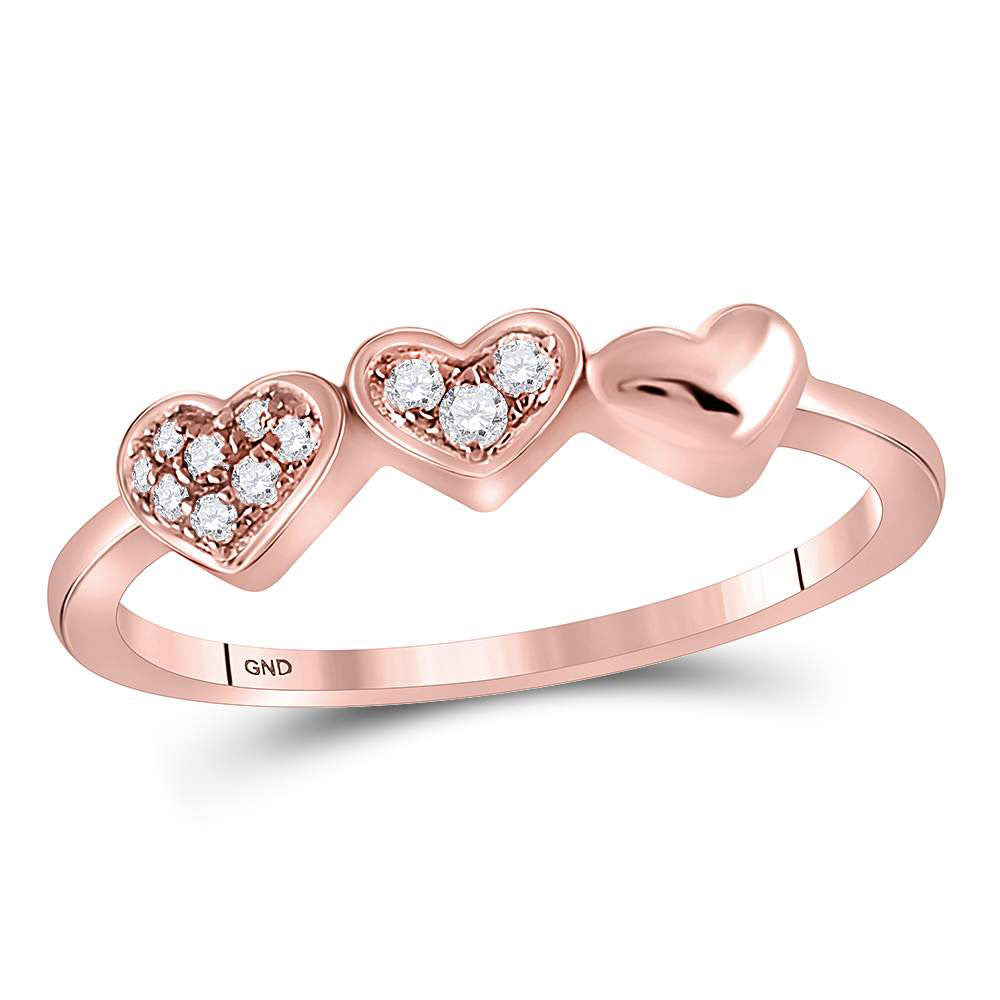 14kt Rose Gold Womens Round Diamond Triple Heart Band Ring .63ct