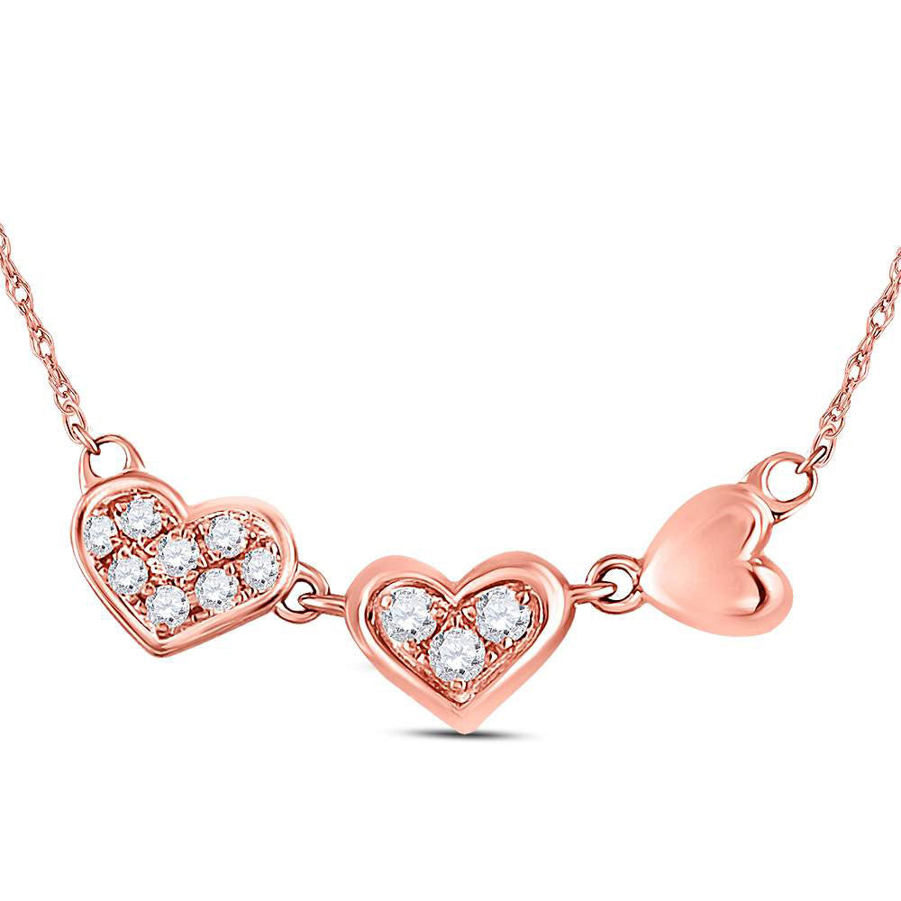 14kt Rose Gold Womens Round Diamond Triple Heart Pendant Necklace .10ct