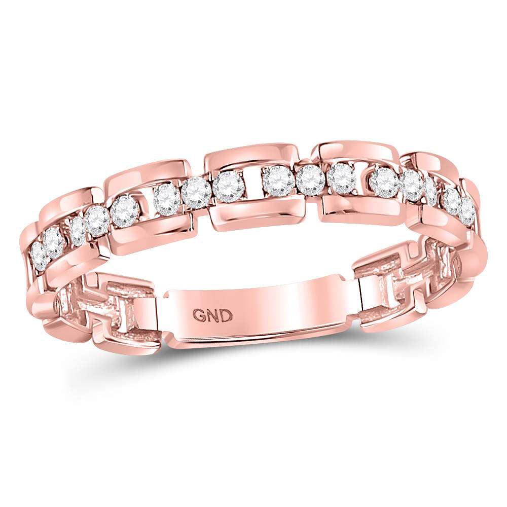 10kt Rose Gold Womens Round Diamond Rolo Link Stackable Band Ring .15ct