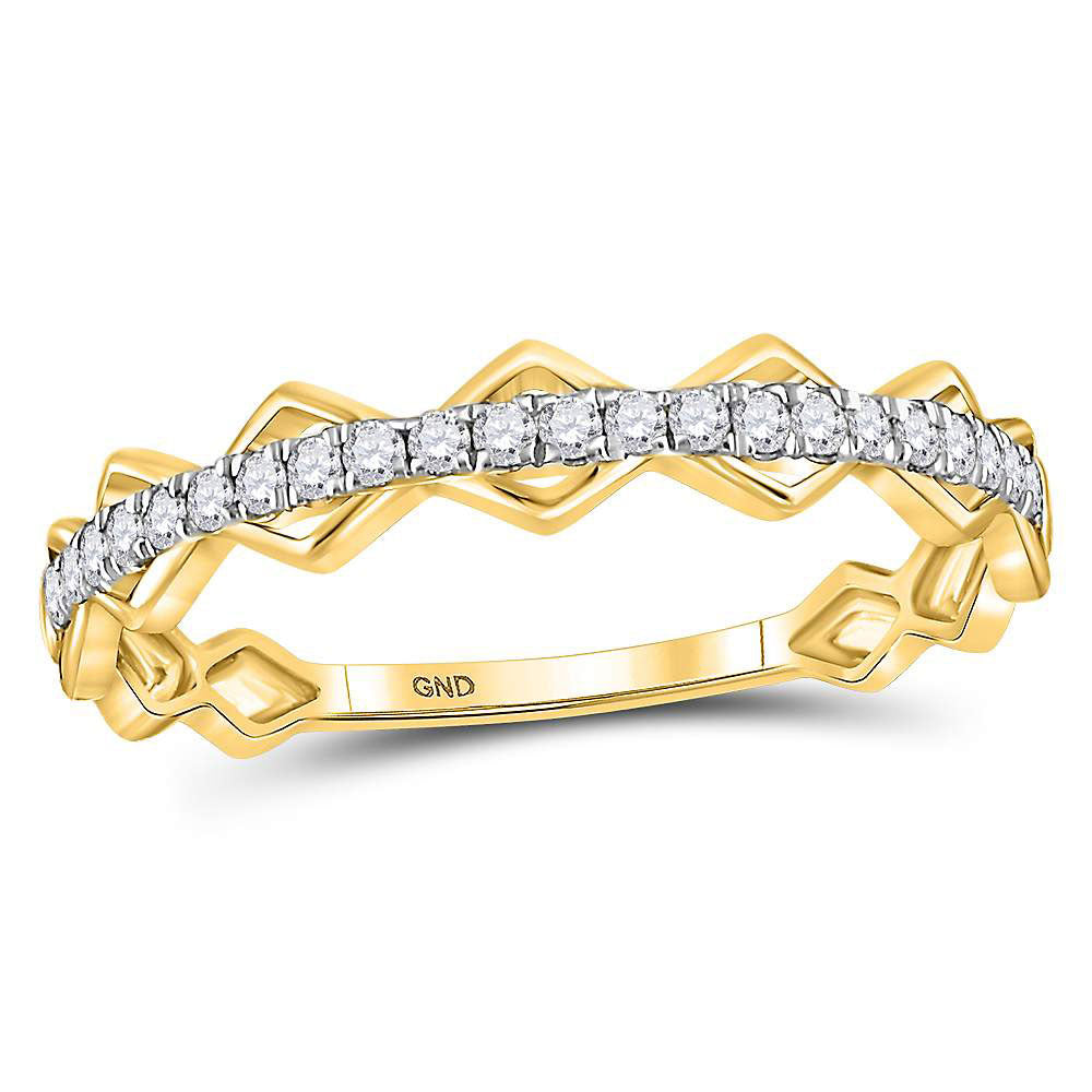 10kt Yellow Gold Womens Round Diamond Link Stackable Band Ring .15ct