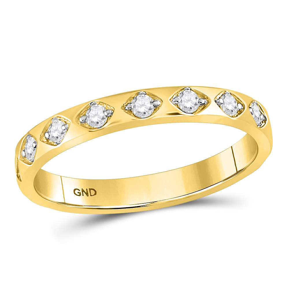 10kt Yellow Gold Womens Round Diamond Flush Diamond Shaped Stackable Band Ring .15ct