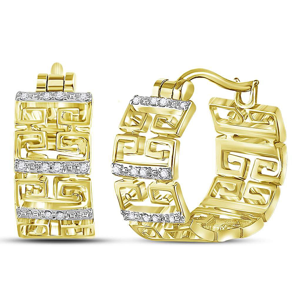 14kt Yellow Gold  Round Diamond Huggie Earrings .10ct