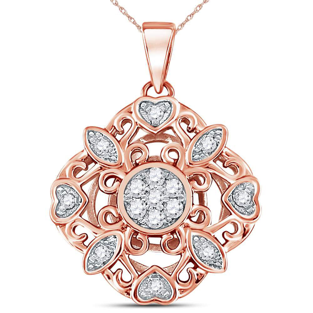14kt Rose Gold Womens Round Diamond Diagonal Square Heart Cluster Pendant .25ct