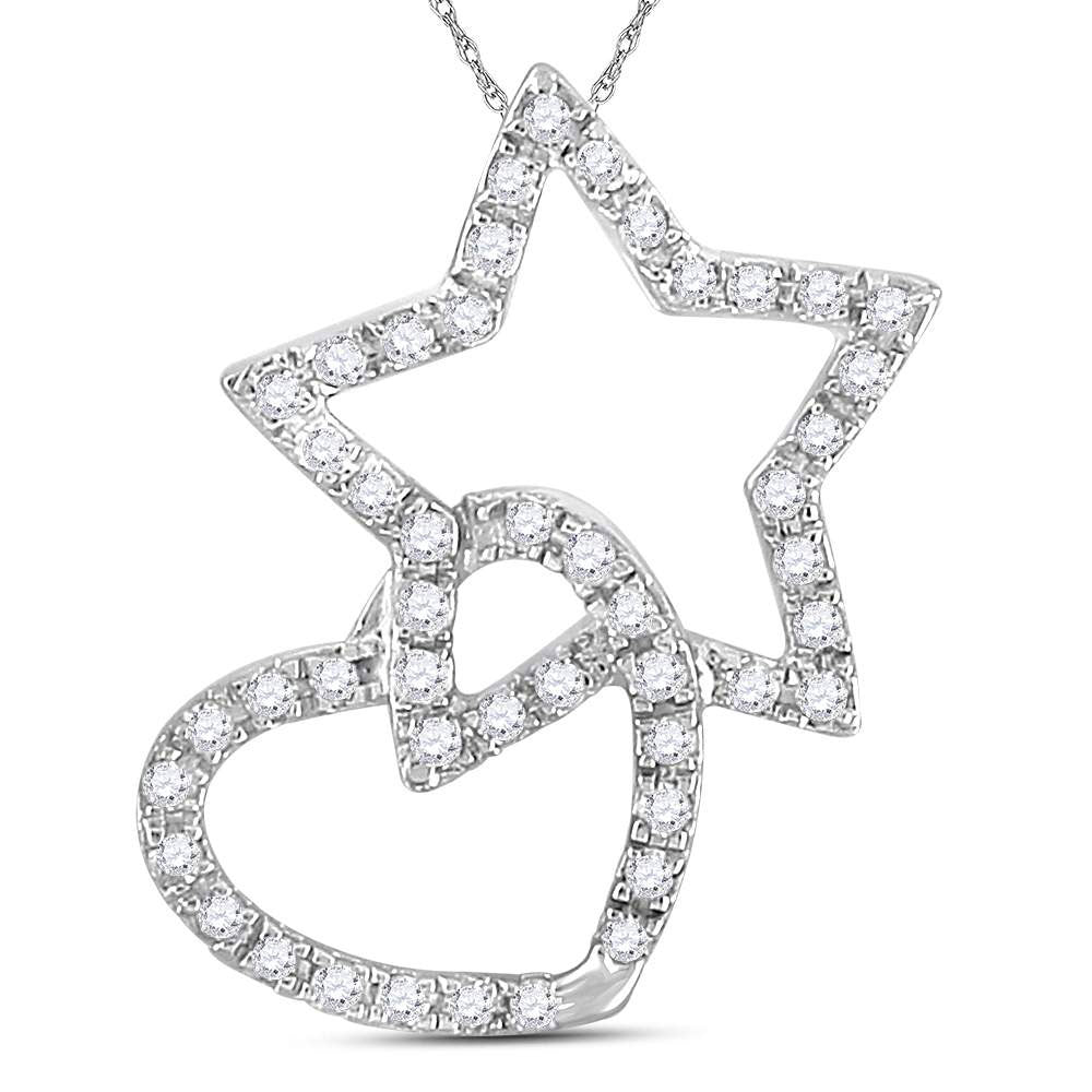 14kt White Gold Womens Round Diamond Linked Star Heart Pendant .13ct