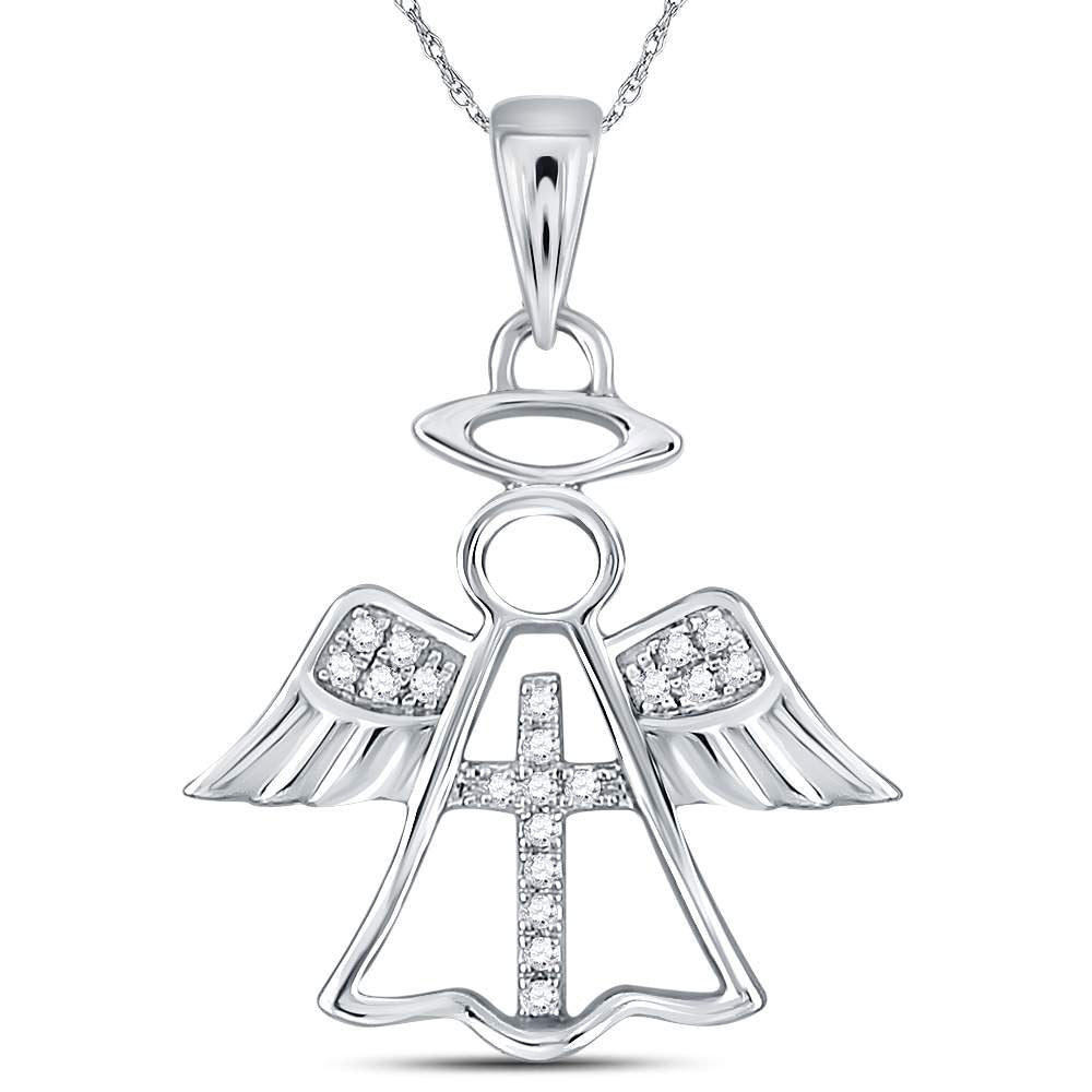 14kt White Gold Womens Round Diamond Angel Cross Religious Pendant 0.05ct