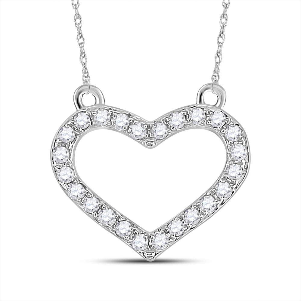 Sterling Silver Womens Round Diamond Heart Pendant Necklace .17ct