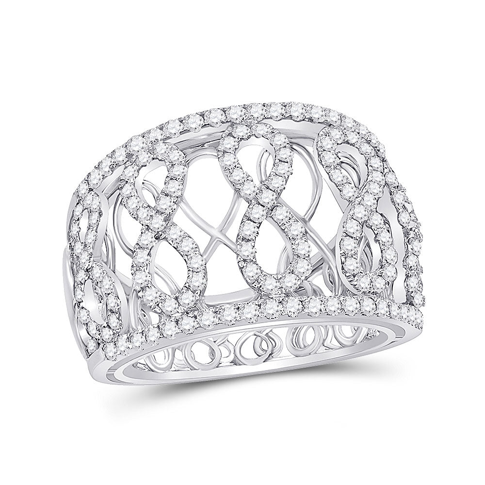 14kt White Gold Womens Round Diamond Fashion Infinity Band Ring .88ct
