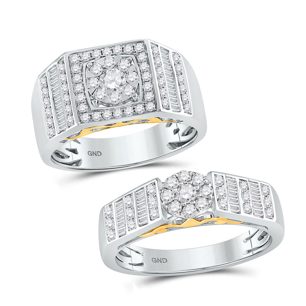 14kt Two-tone Gold His & Hers Round Diamond Solitaire Matching Bridal Wedding Ring Band Set 1.15ct