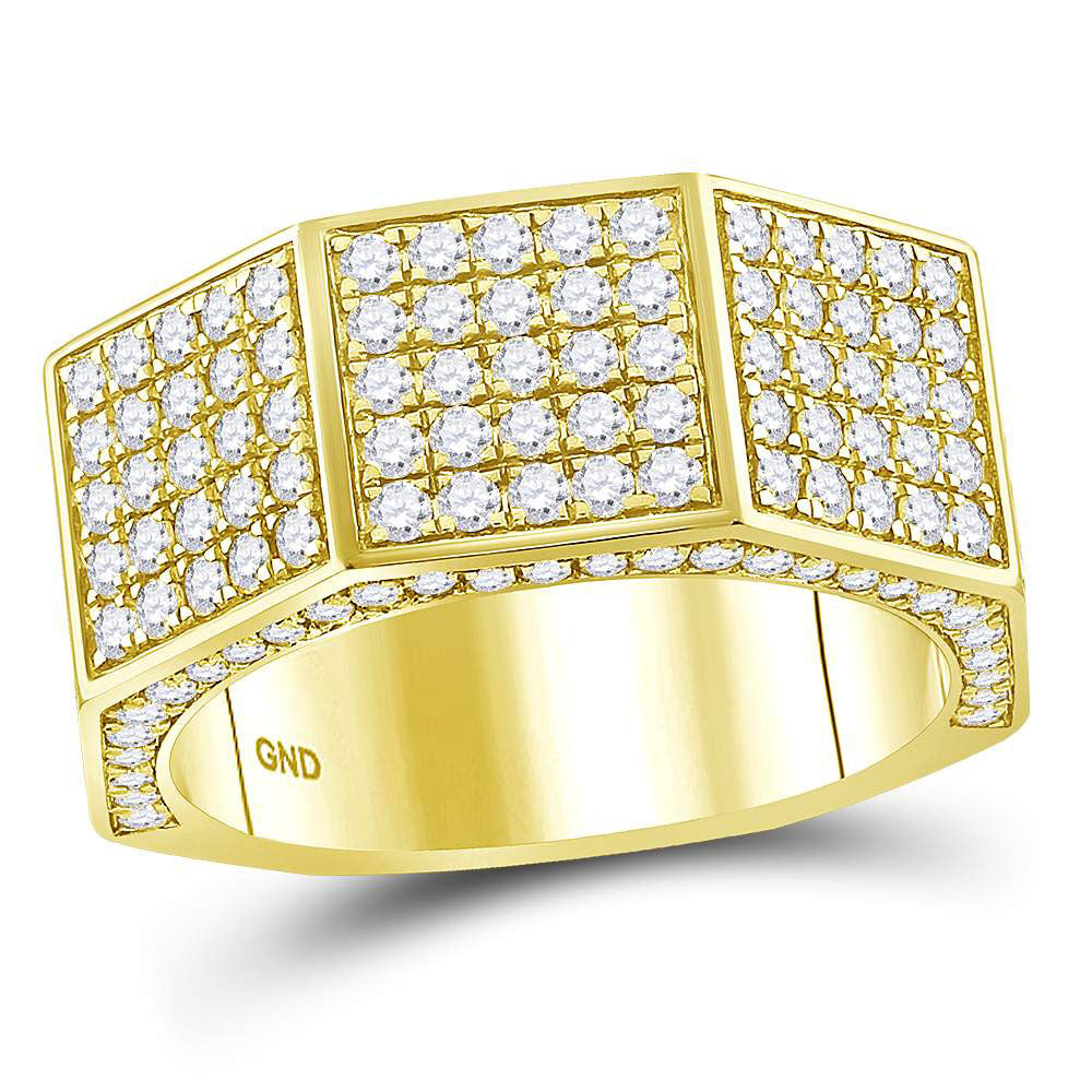 14kt Yellow Gold Mens Round Diamond Octagon Nut Faceted Band Ring 2.75ct