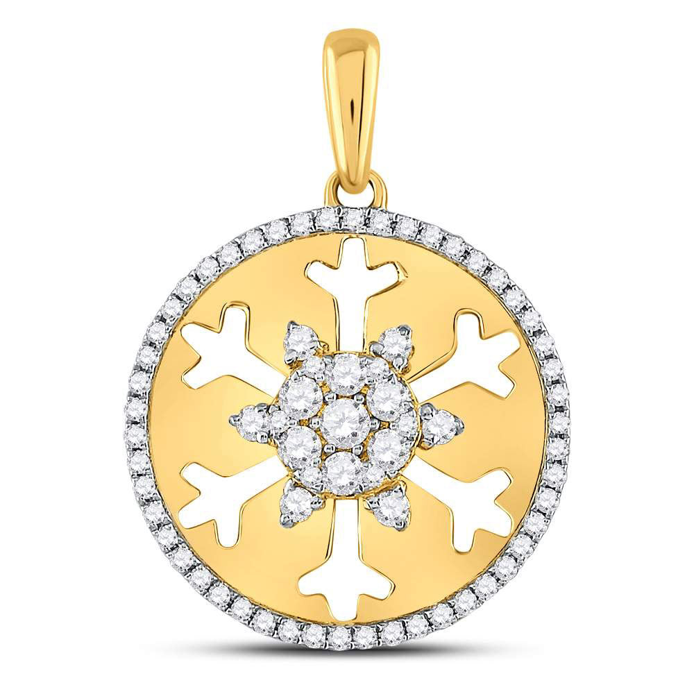 14kt Yellow Gold Womens Round Diamond Snowflake Fashion Pendant .63ct