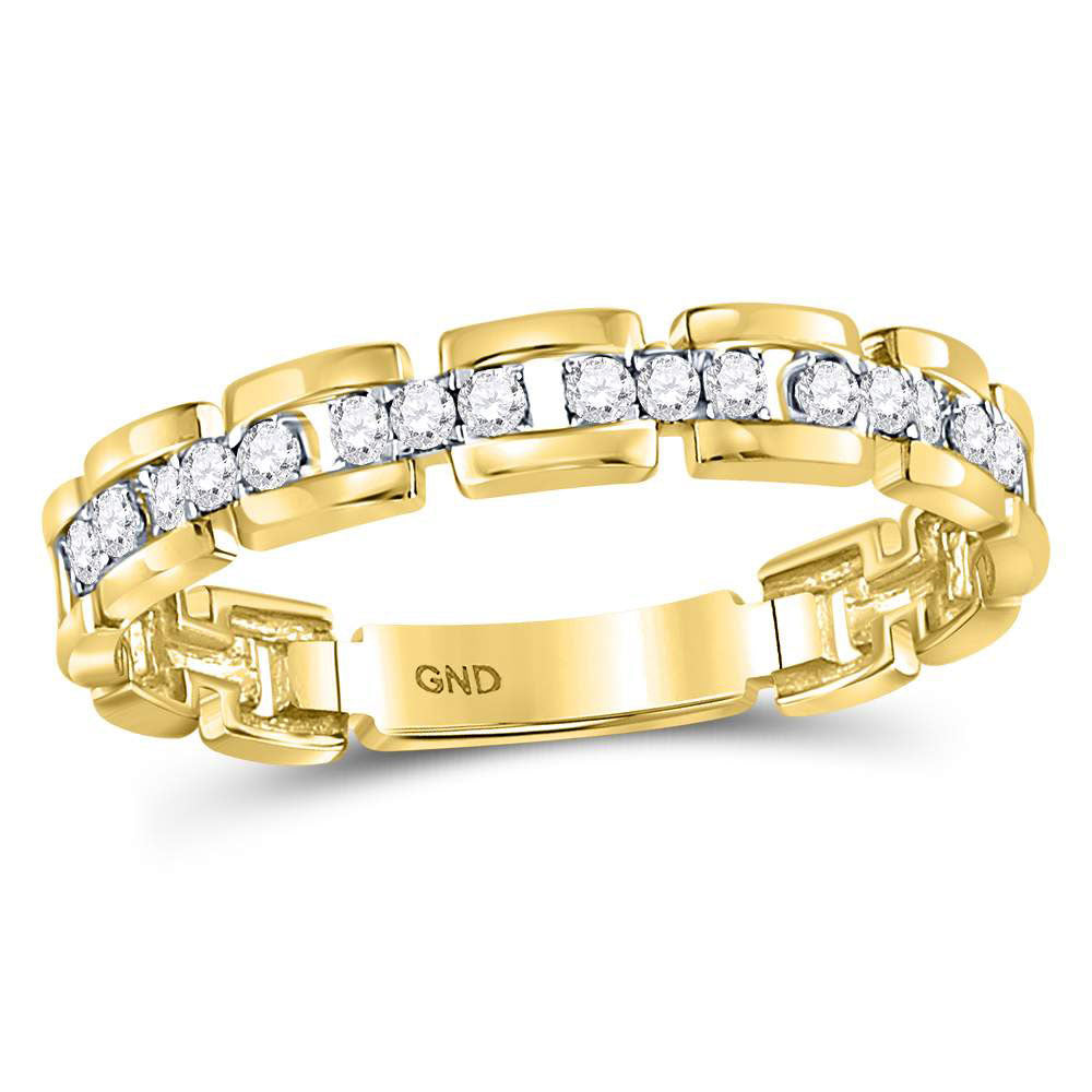 10kt Yellow Gold Womens Round Diamond Rolo Link Stackable Band Ring .15ct
