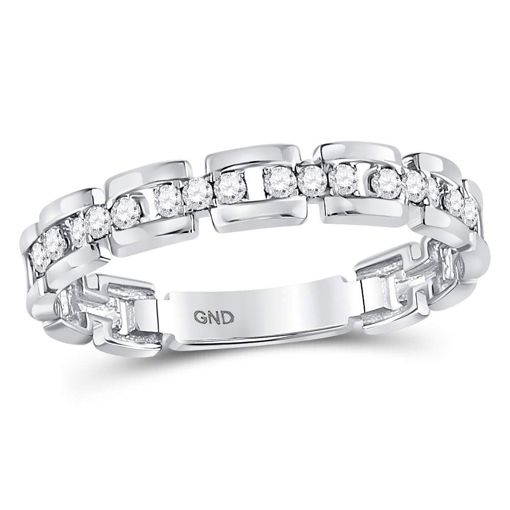 10kt White Gold Womens Round Diamond Rolo Link Stackable Band Ring .15ct