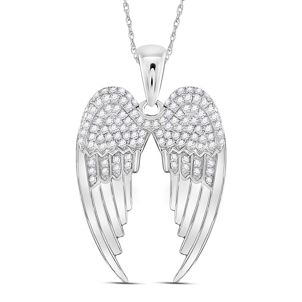 Sterling Silver Womens Round Diamond Angel Wings Pendant .38ct