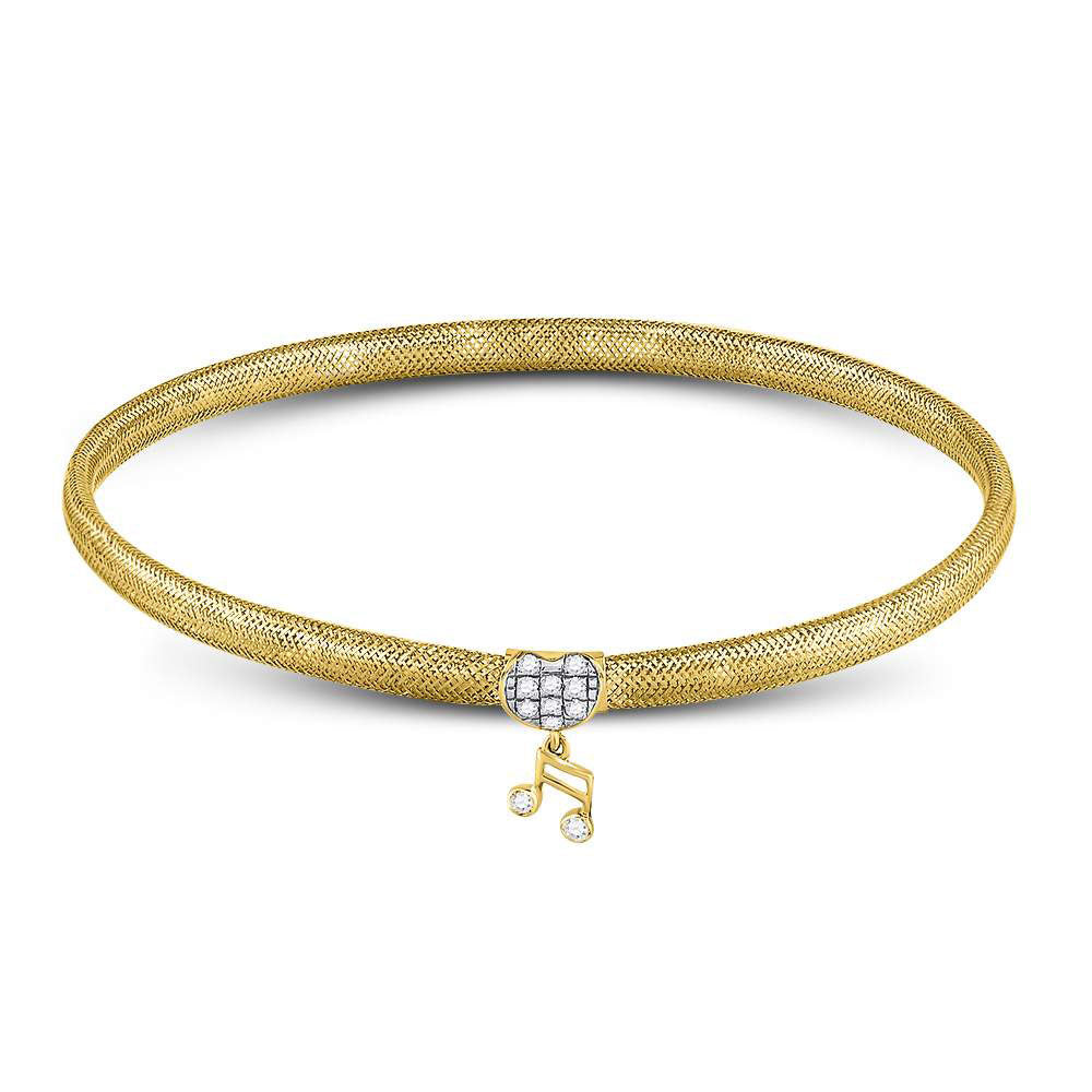 10kt Yellow Gold Womens Round Diamond Eighth Quaver Music Note Stretch Bangle Bracelet .10ct