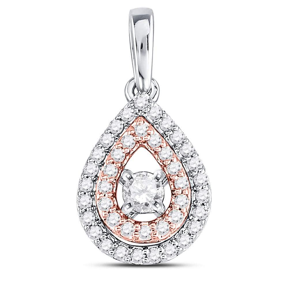 10kt Two-tone Gold Womens Round Diamond Teardrop Solitaire Pendant .25ct