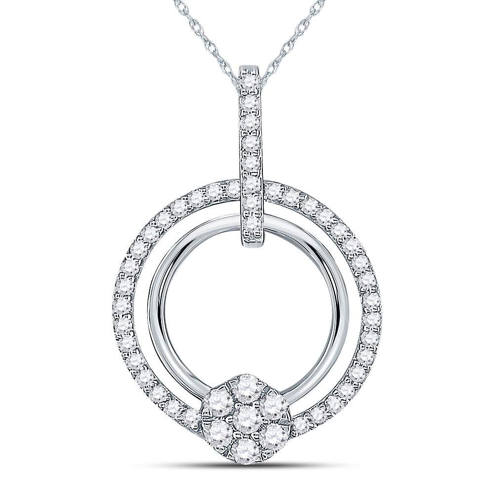 10kt White Gold Womens Round Diamond Circle Cluster Pendant .38ct