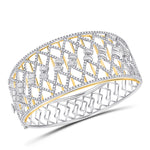 14kt Two-tone Gold Womens Round Diamond Cocktail Bangle Bracelet 4.63ct