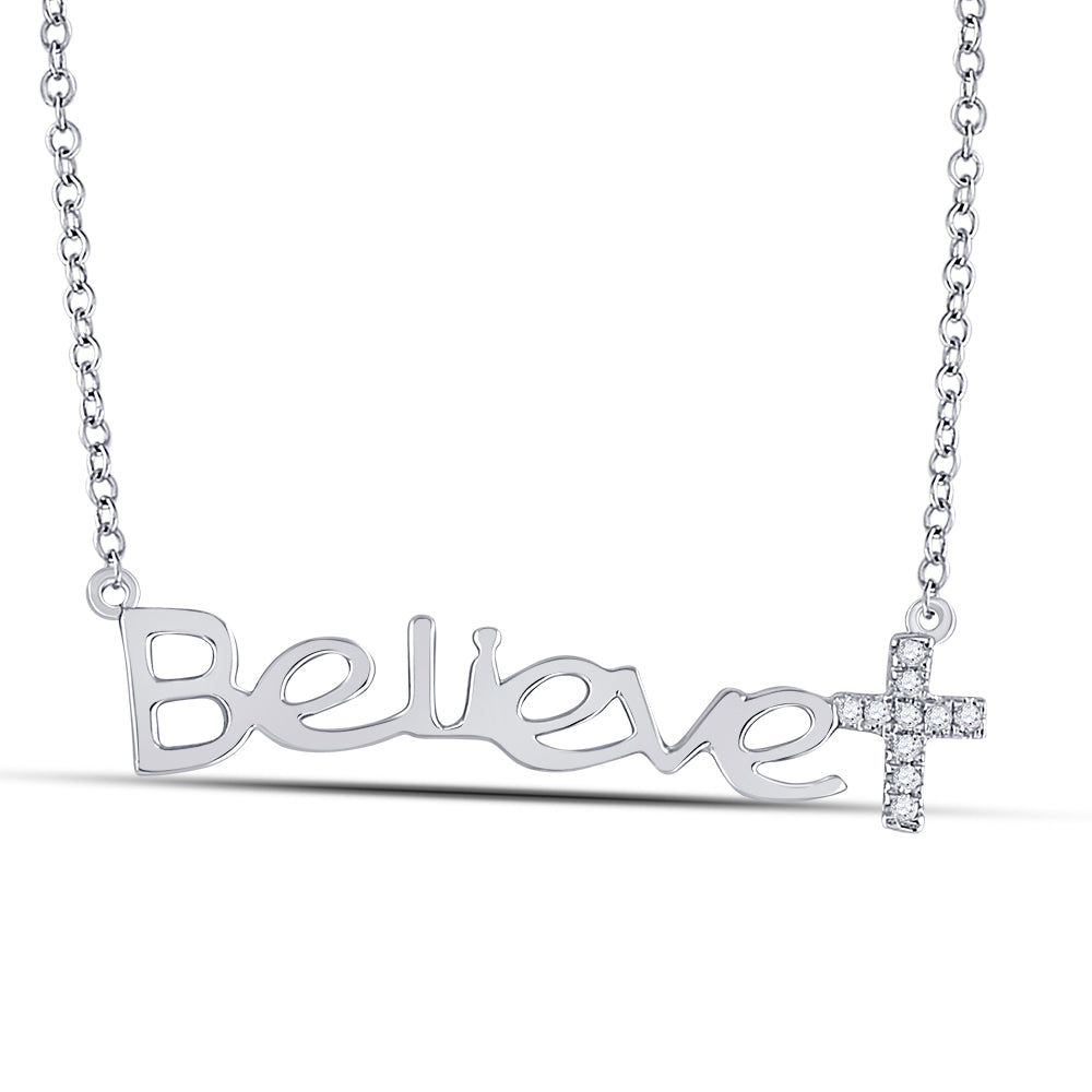 10kt White Gold Womens Round Diamond Believe Cross Necklace 0.05ct