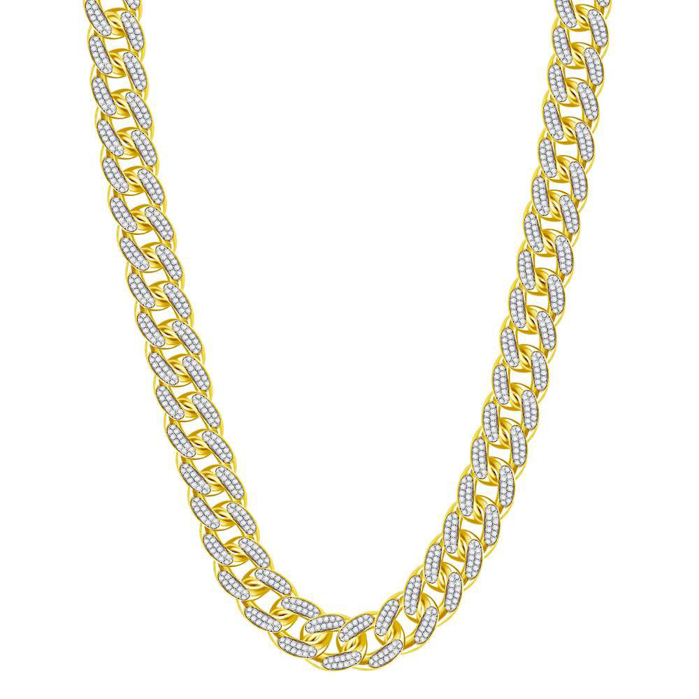 10kt Yellow Gold Mens Round Diamond Cuban Link Chain Necklace 13.15ct