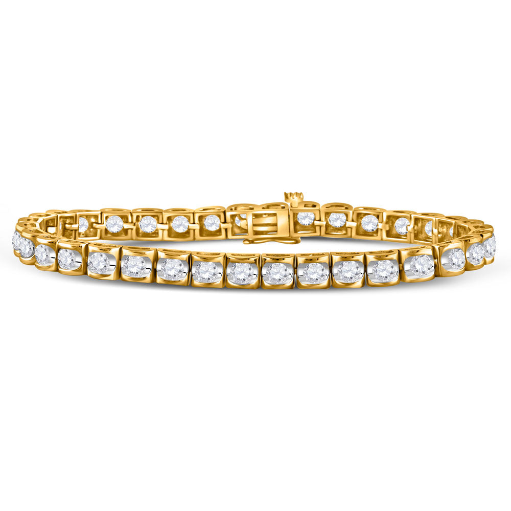 14kt Yellow Gold Womens Round Diamond Timeless Tennis Bracelet 5.00ct