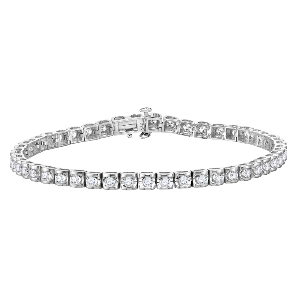 14kt White Gold Mens Round Diamond Solitaire Tennis Bracelet 5.00ct