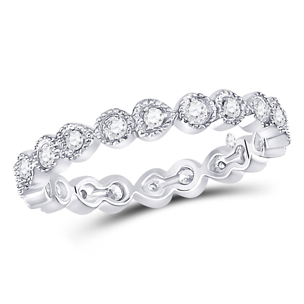 10kt White Gold Womens Round Diamond Heart Eternity Band Ring .38ct