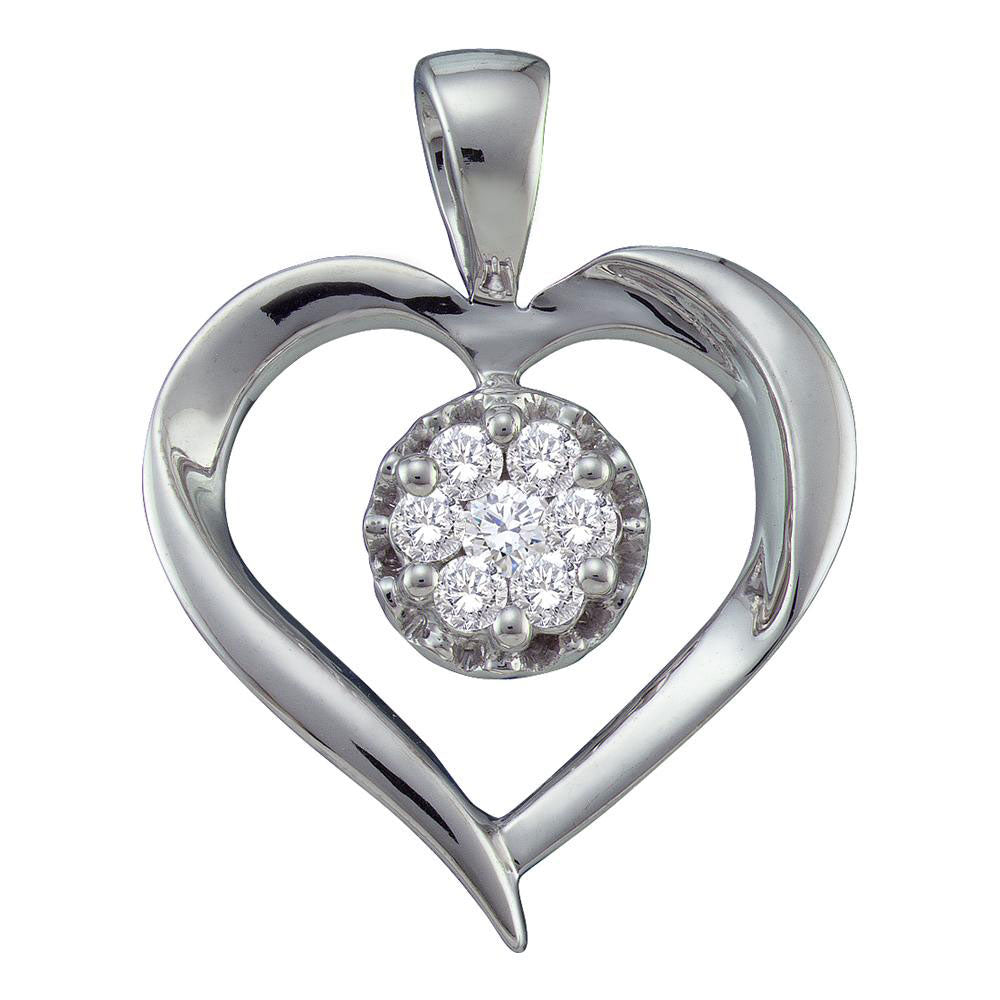14kt White Gold Womens Round Diamond Heart Cluster Pendant .25ct