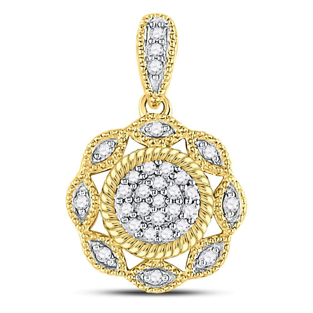 10kt Yellow Gold Womens Round Diamond Milgrain Rope Cluster Pendant .10ct