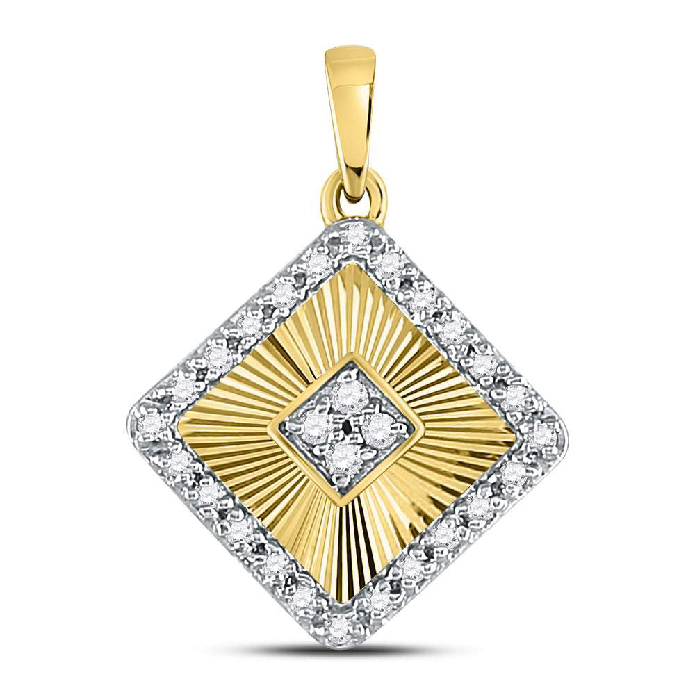 10kt Yellow Gold Womens Round Diamond Diagonal Square Pendant .17ct