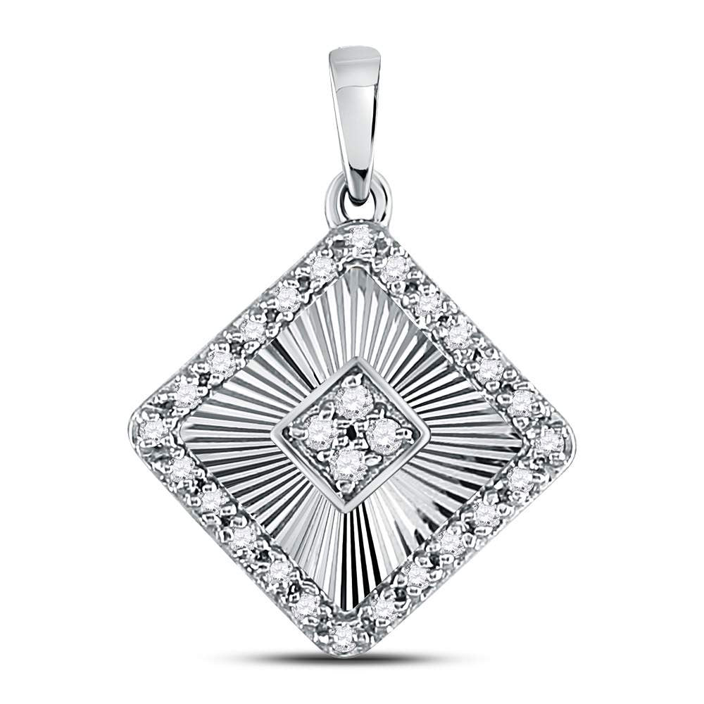 10kt White Gold Womens Round Diamond Diagonal Square Pendant .17ct