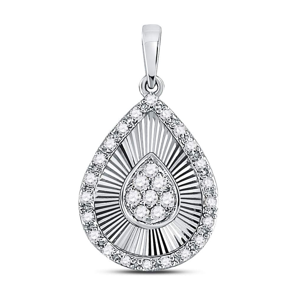 10kt White Gold Womens Round Diamond Teardrop Pendant .17ct