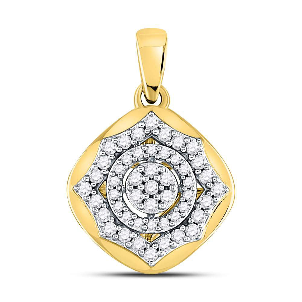 10kt Yellow Gold Womens Round Diamond Cluster Pendant .15ct