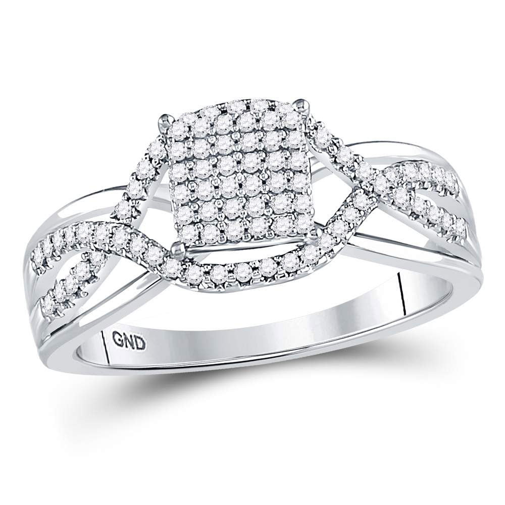 10kt White Gold Womens Round Diamond Rectangle Twist Cluster Ring .25ct