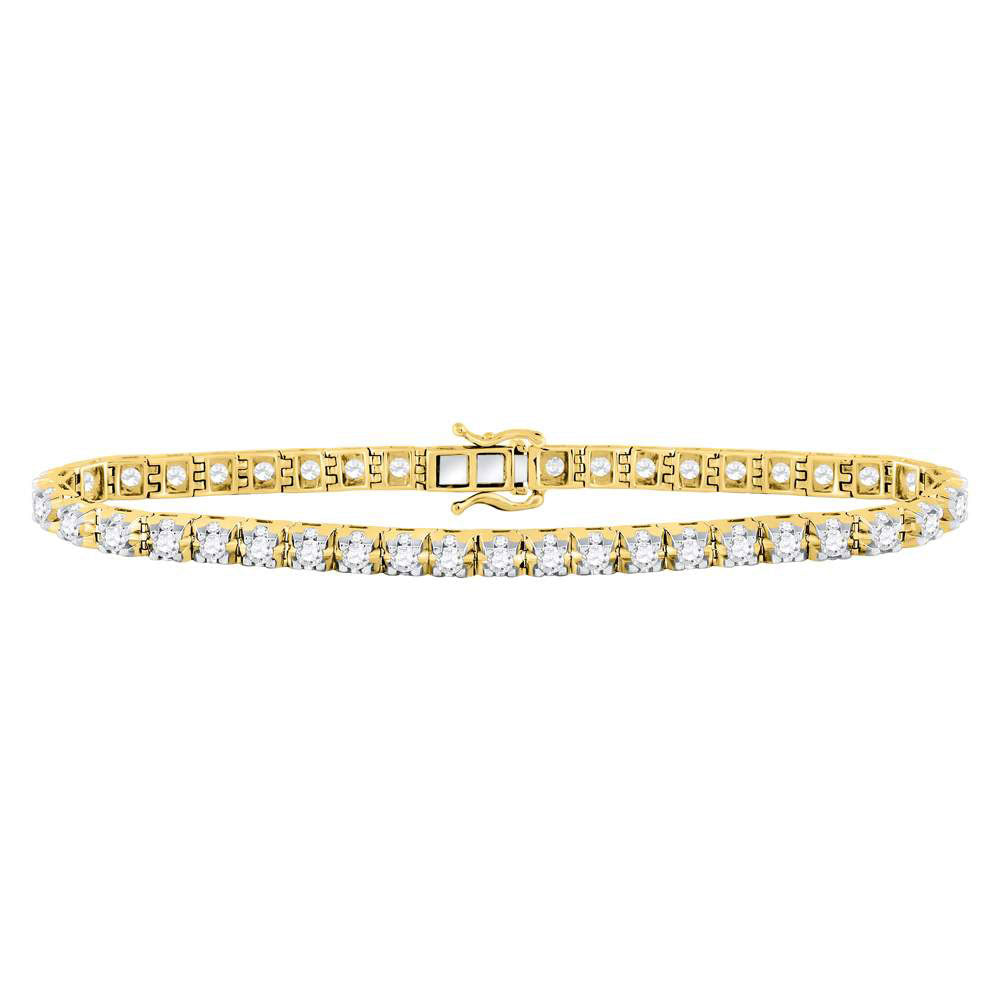 10kt Yellow Gold Womens Round Diamond Studded Tennis Bracelet 7.00ct
