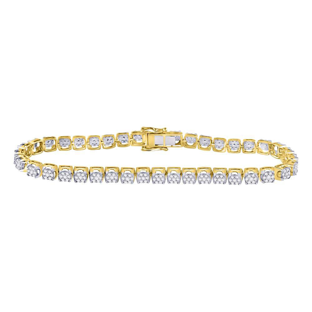 10kt Yellow Gold Mens Round Diamond Cluster Tennis Fashion Bracelet 3.35ct