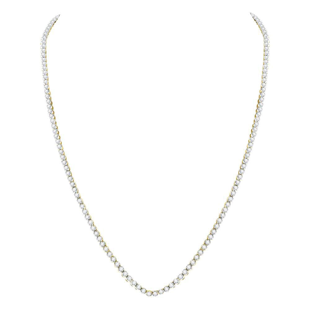 "10kt Yellow Gold Mens Round Diamond Solitaire Linked 24"" Necklace 11.00ct"