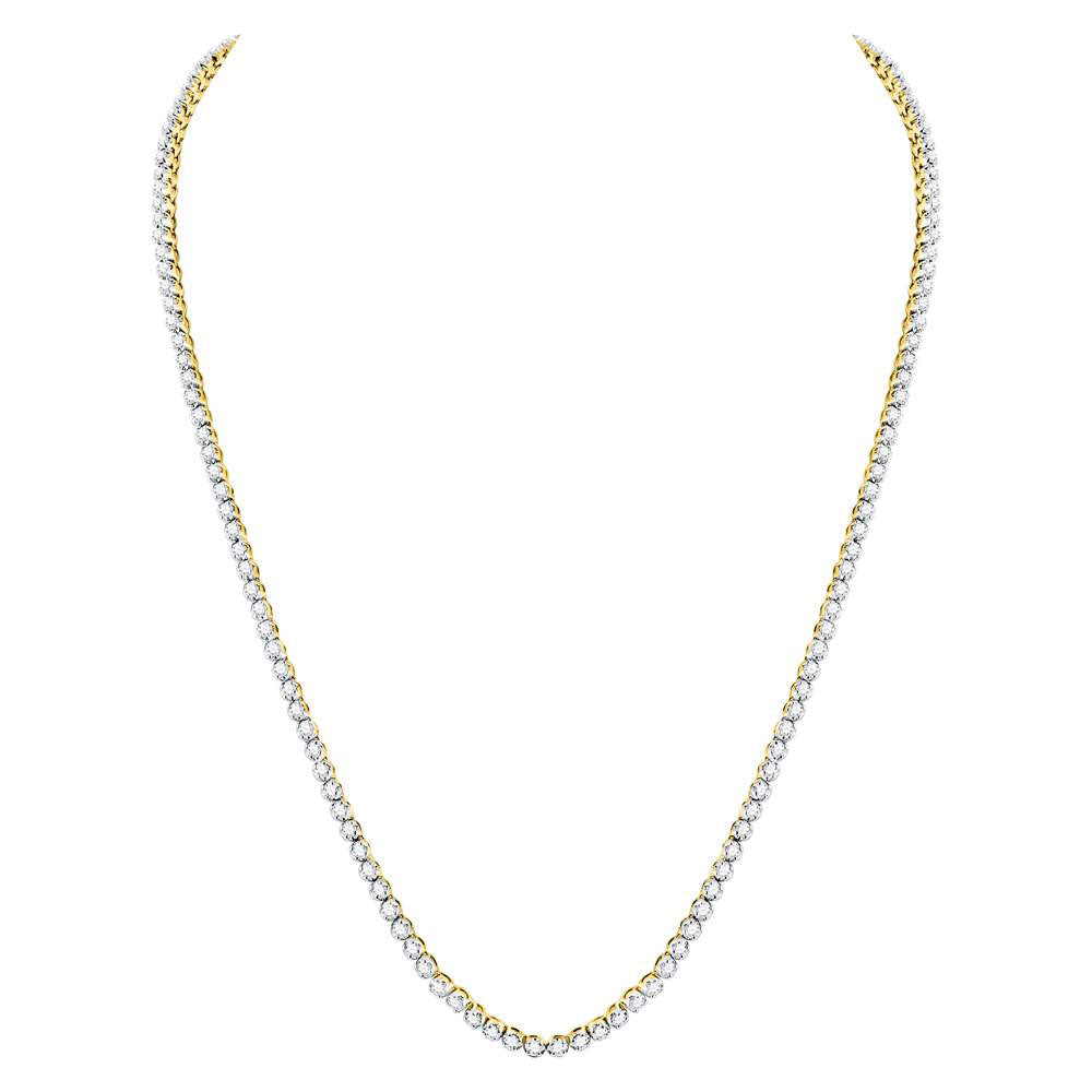 "10kt Yellow Gold Mens Round Diamond Solitaire Linked 26"" Necklace 11.38ct"