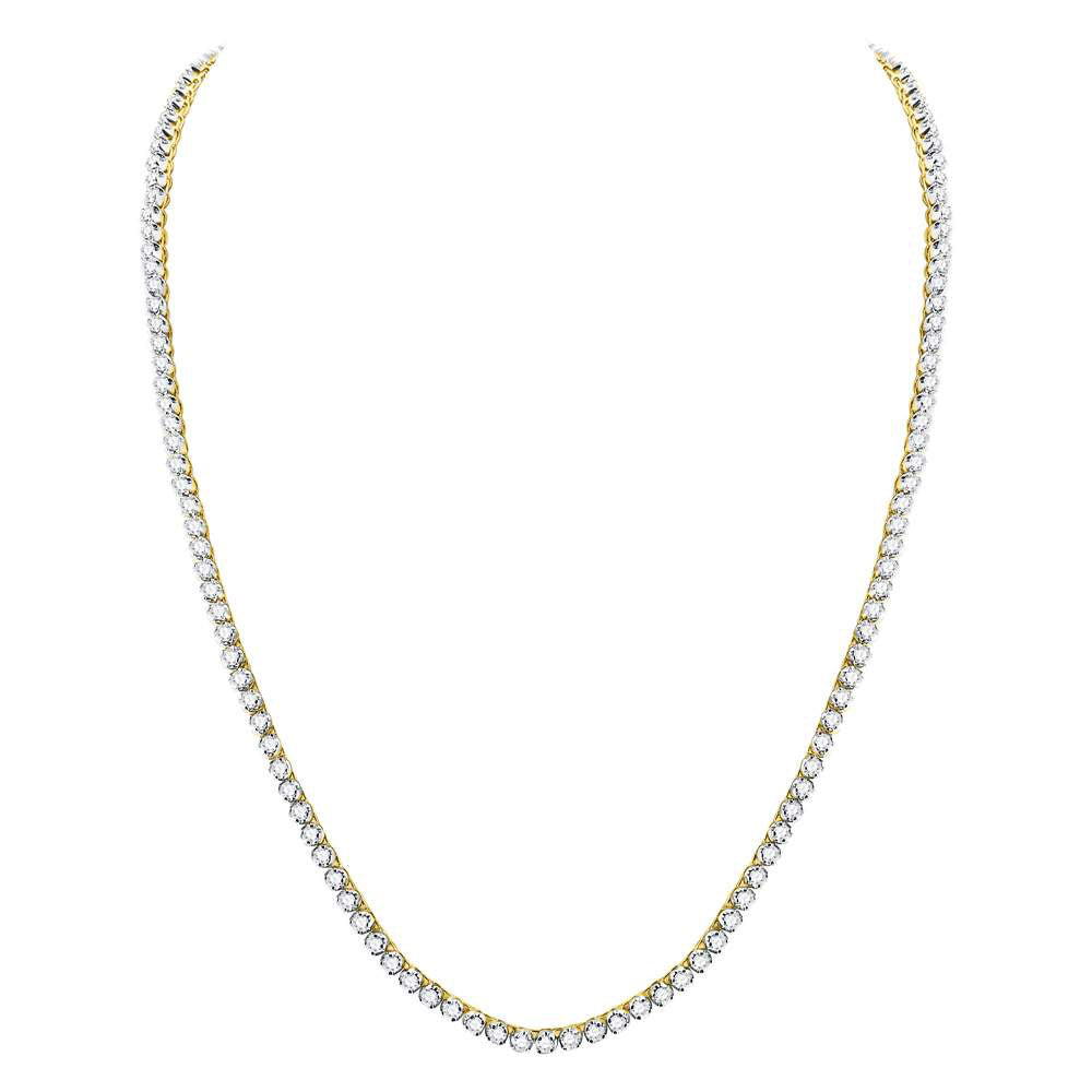 "10kt Yellow Gold Mens Round Diamond 24"" Studded Link Chain Necklace 14.88ct"