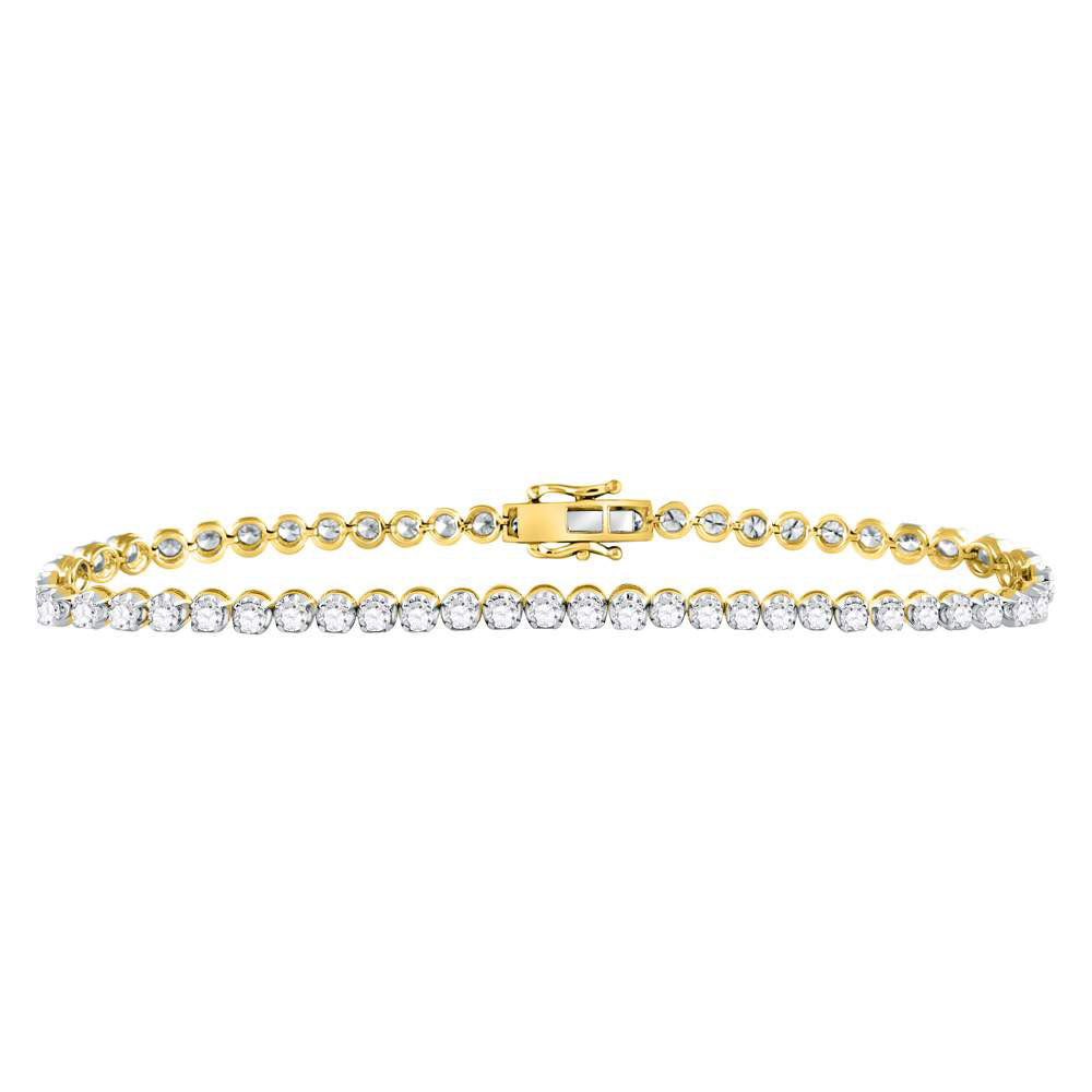 10kt Yellow Gold Mens Round Diamond Solitaire Link Tennis Bracelet 8.00ct