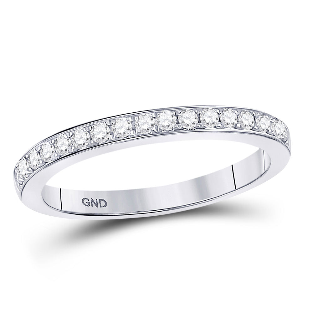 10kt White Gold Womens Round Diamond Single Row Band Ring .25ct